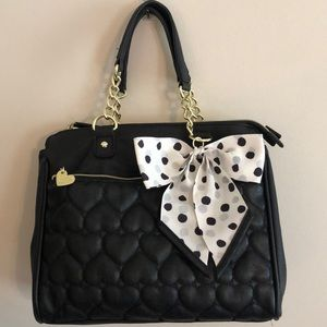 Betsey Johnson Black Heart Quilted Bag with Bow